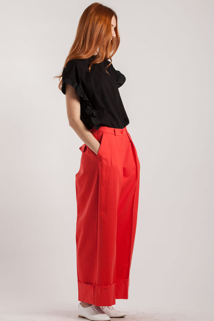 Cotton Red Wide Leg Trousers - Via Ennji Online Store