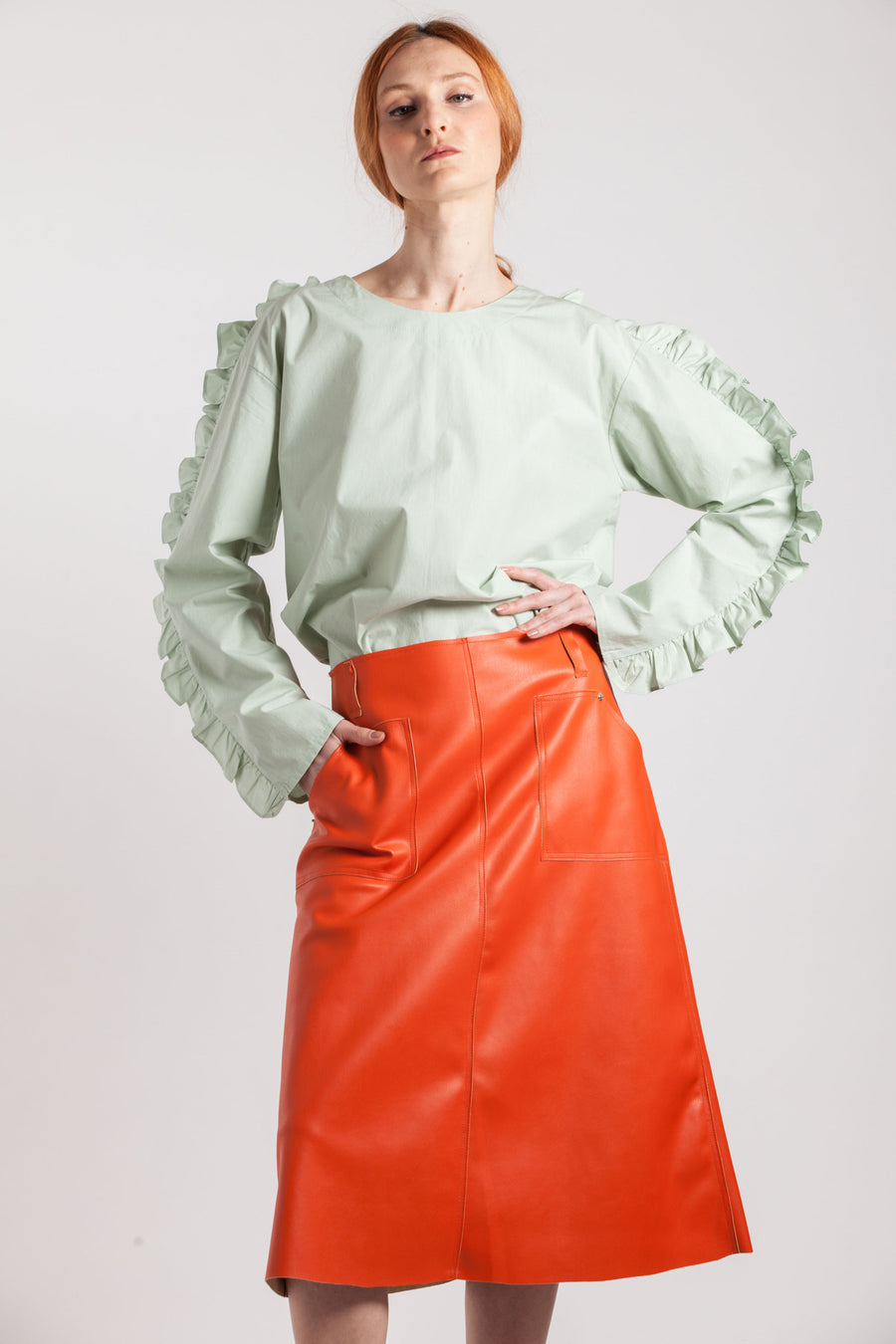 Open-back Frill Shirt - Via Ennji Online Store