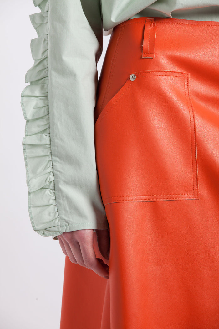 A-line Synthetic Leather Orange Skirt