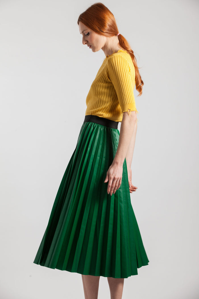 Long Green Pleated Skirts - Via Ennji Online Store