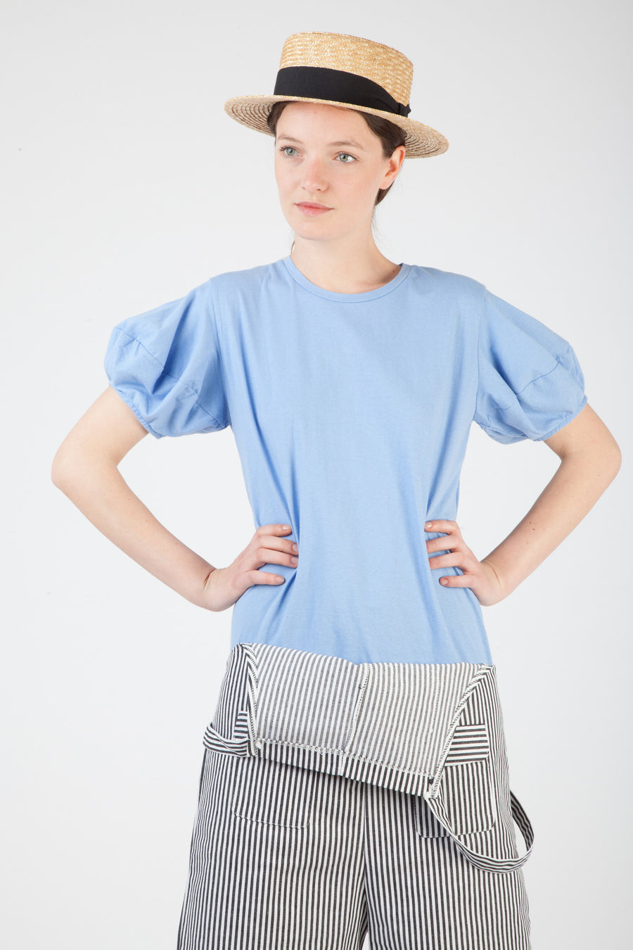 light blue puff sleeve tee