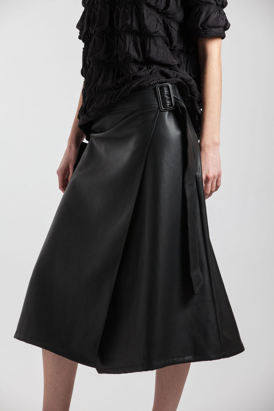 A-Line Buckle Black Synthetic Leather Skirt - Via Ennji Online Store
