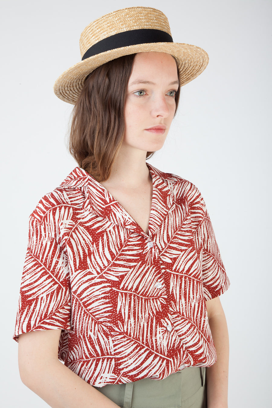palm tree leaf pattern shirt
