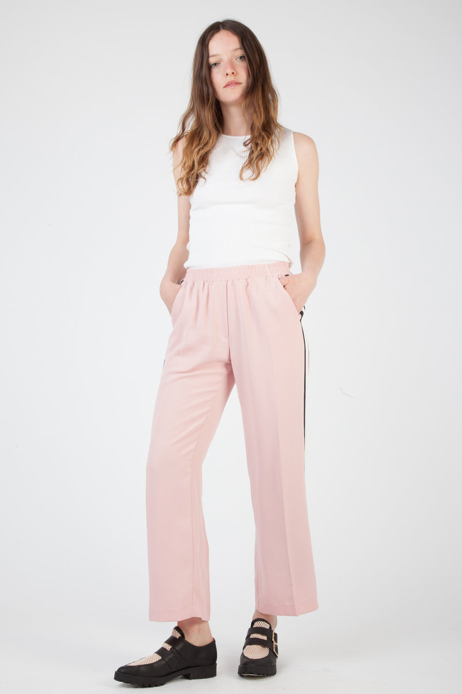 side striped pink pants