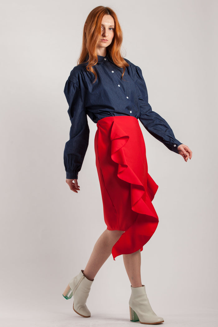 Red Frill Skirt - Via Ennji Online Store