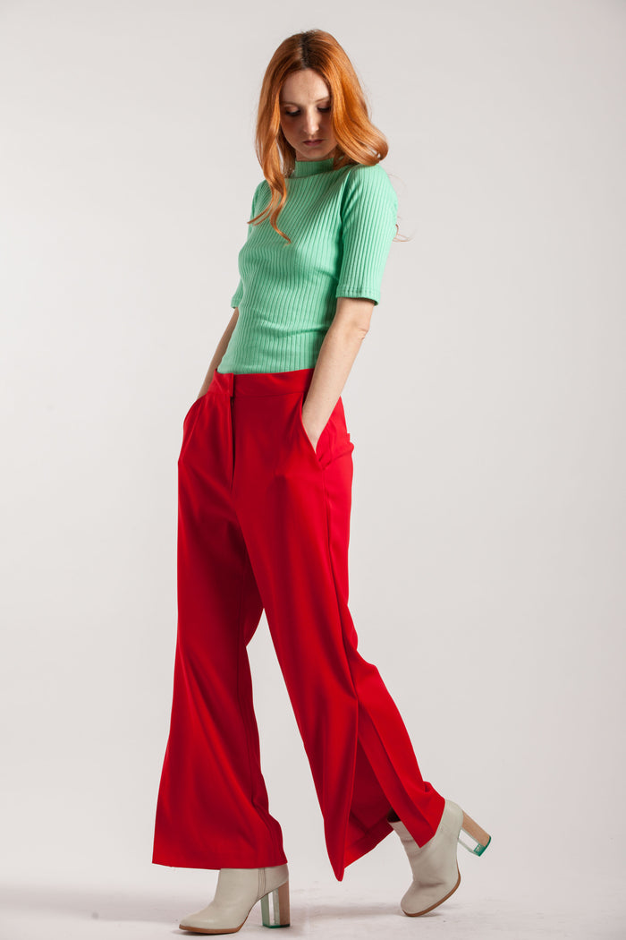 Wide Leg Soft Red Trousers - Via Ennji Online Store