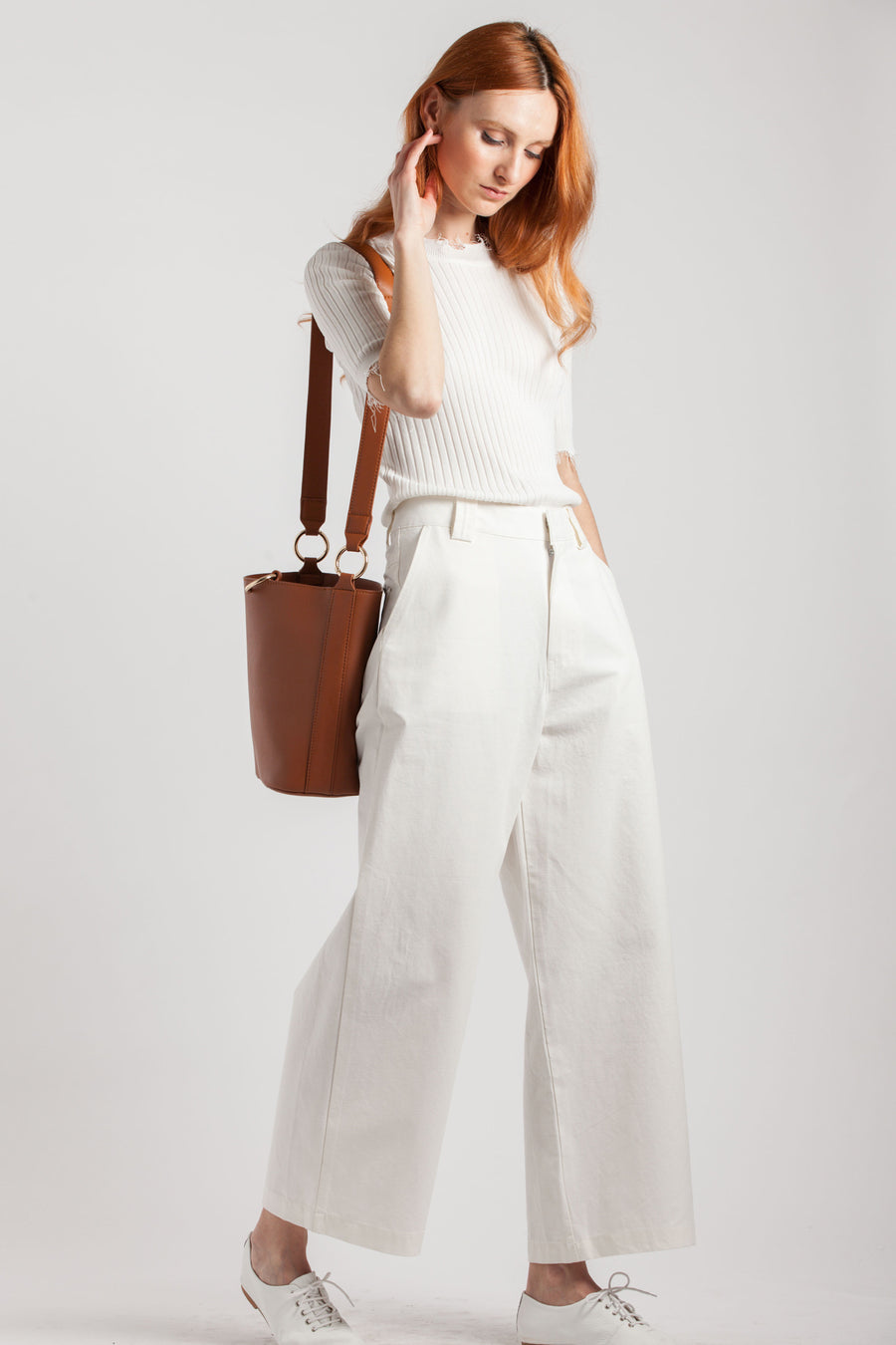 White Cotton Trousers - Via Ennji Online Store