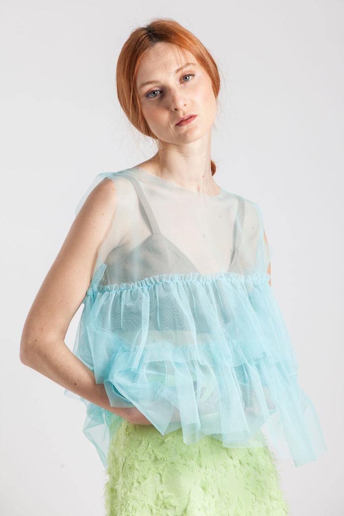 See-through Triple Frills Top - Via Ennji Online Store