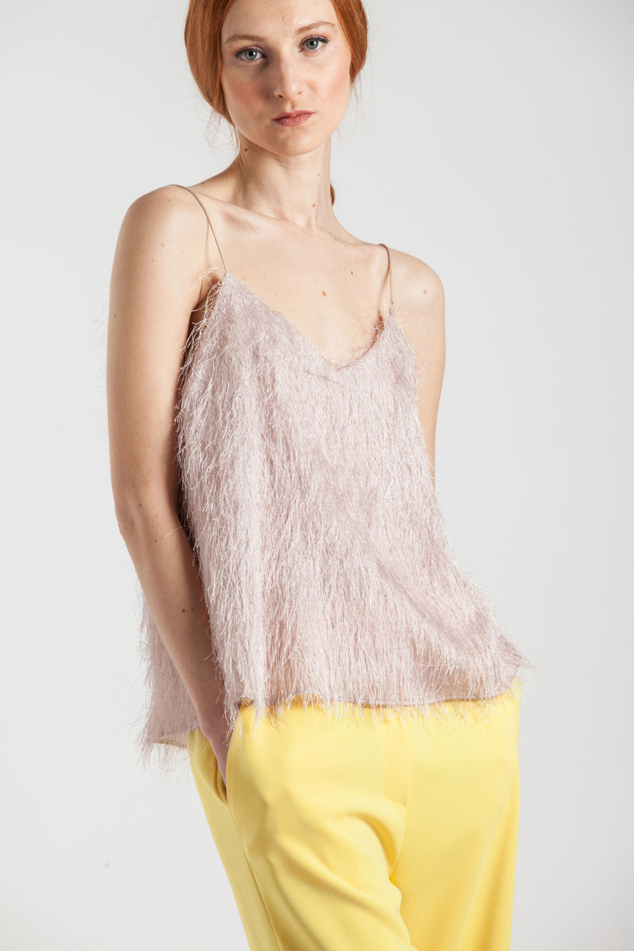 Metallic Fringed Pink Top - Via Ennji Online Store