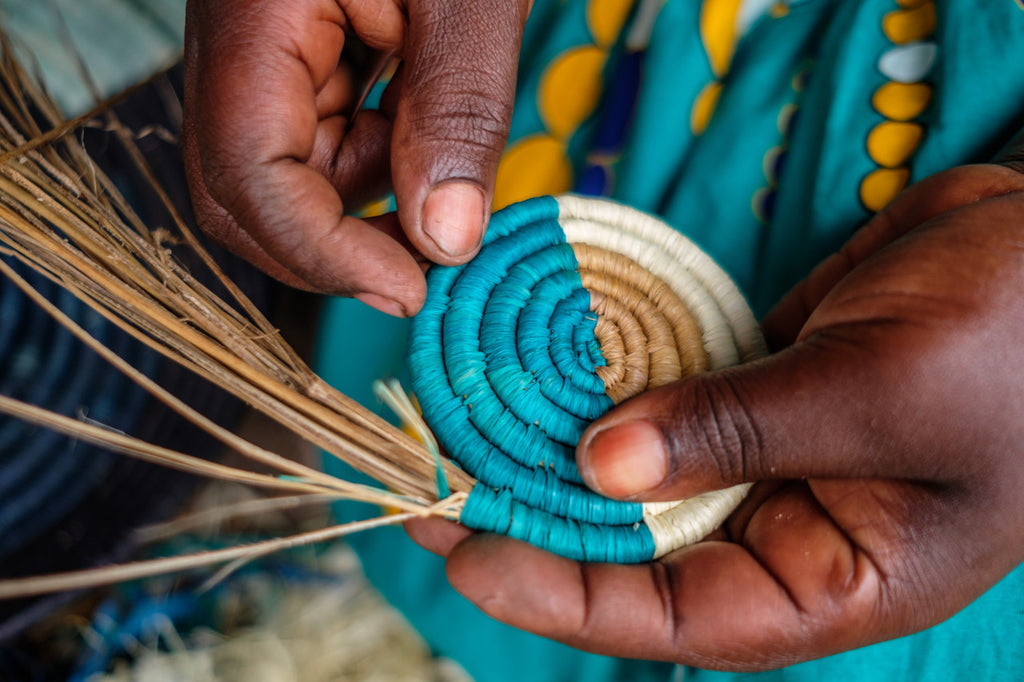 Bright woven coils for basket