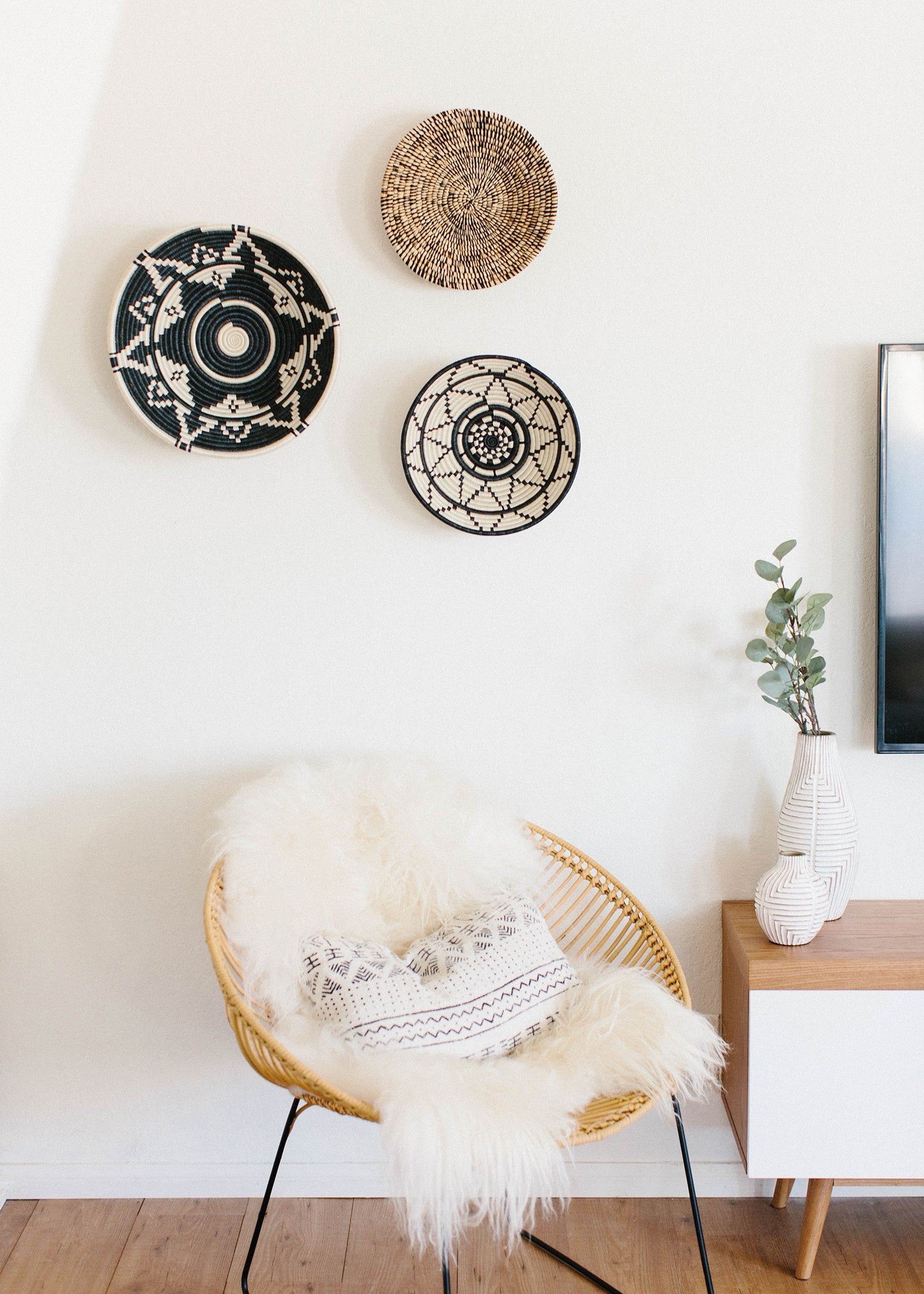 Heathered Black + White Raffia Large Basket - KAZI - Artisan made high quality home decor and wall art