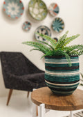 Teal + Black Striped Dunia Vase
