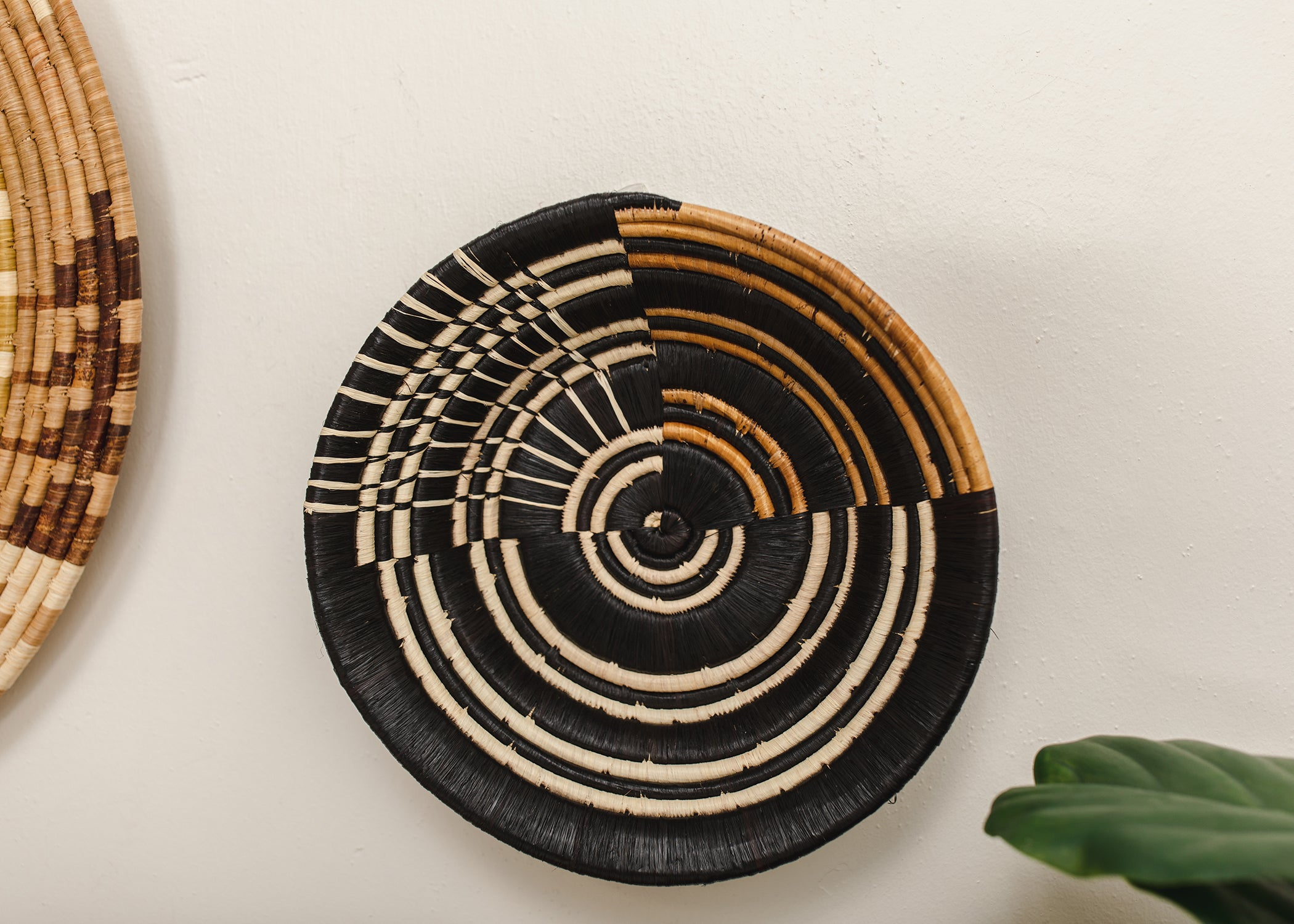 "14""  Extra Large Striped Banana Bark  Round Basket - KAZI - Artisan made high quality home decor and wall art"