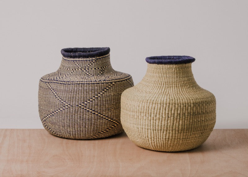 Dipped Natural + Black Grass Pot - KAZI - Artisan made high quality home decor and wall art