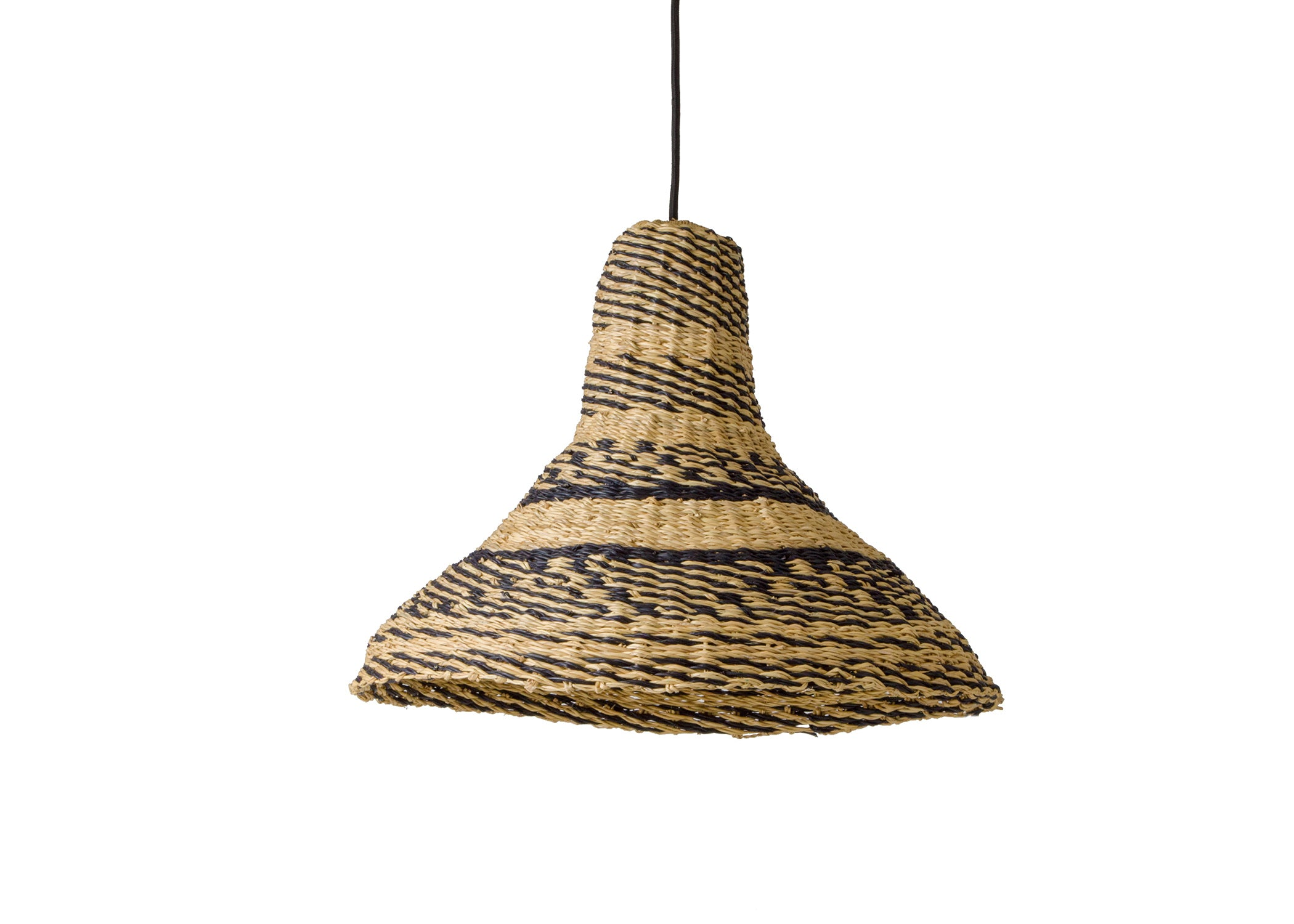 Black Funnel Shape Grass Lamp Pendant - KAZI