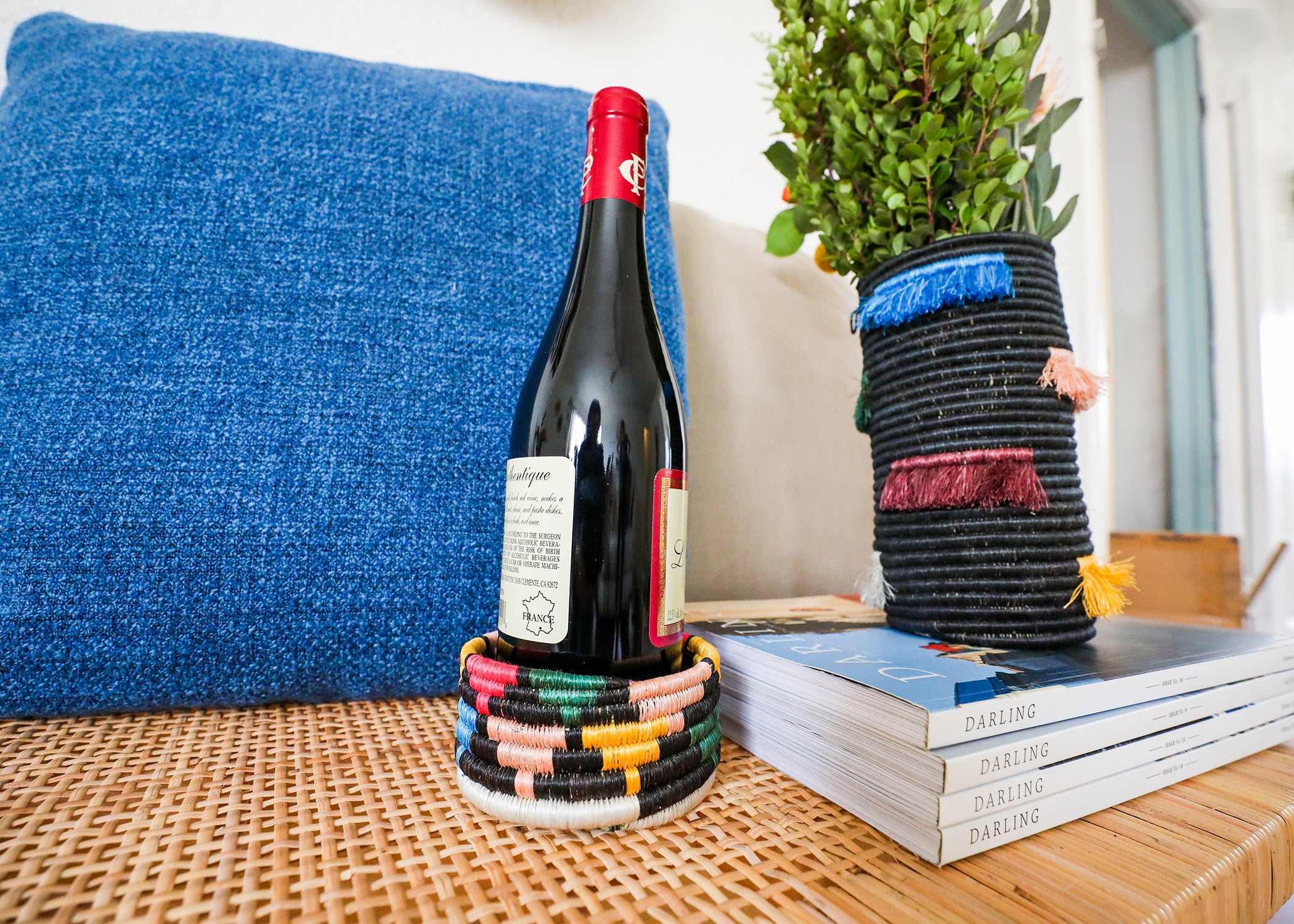 Black + Neon Mlima Wine Bottle Coaster - KAZI - Artisan made high quality home decor and wall art