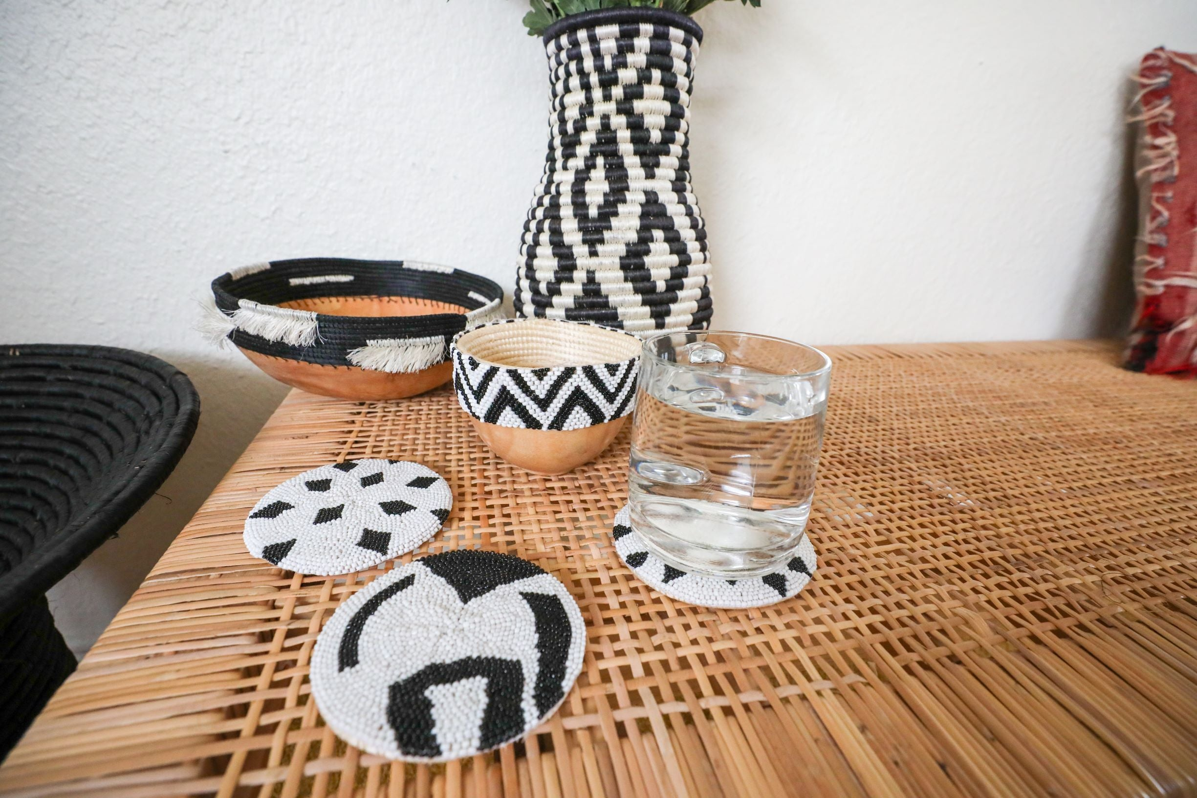 Black Beaded Atelier Coaster 01 - KAZI - Artisan made high quality home decor and wall art
