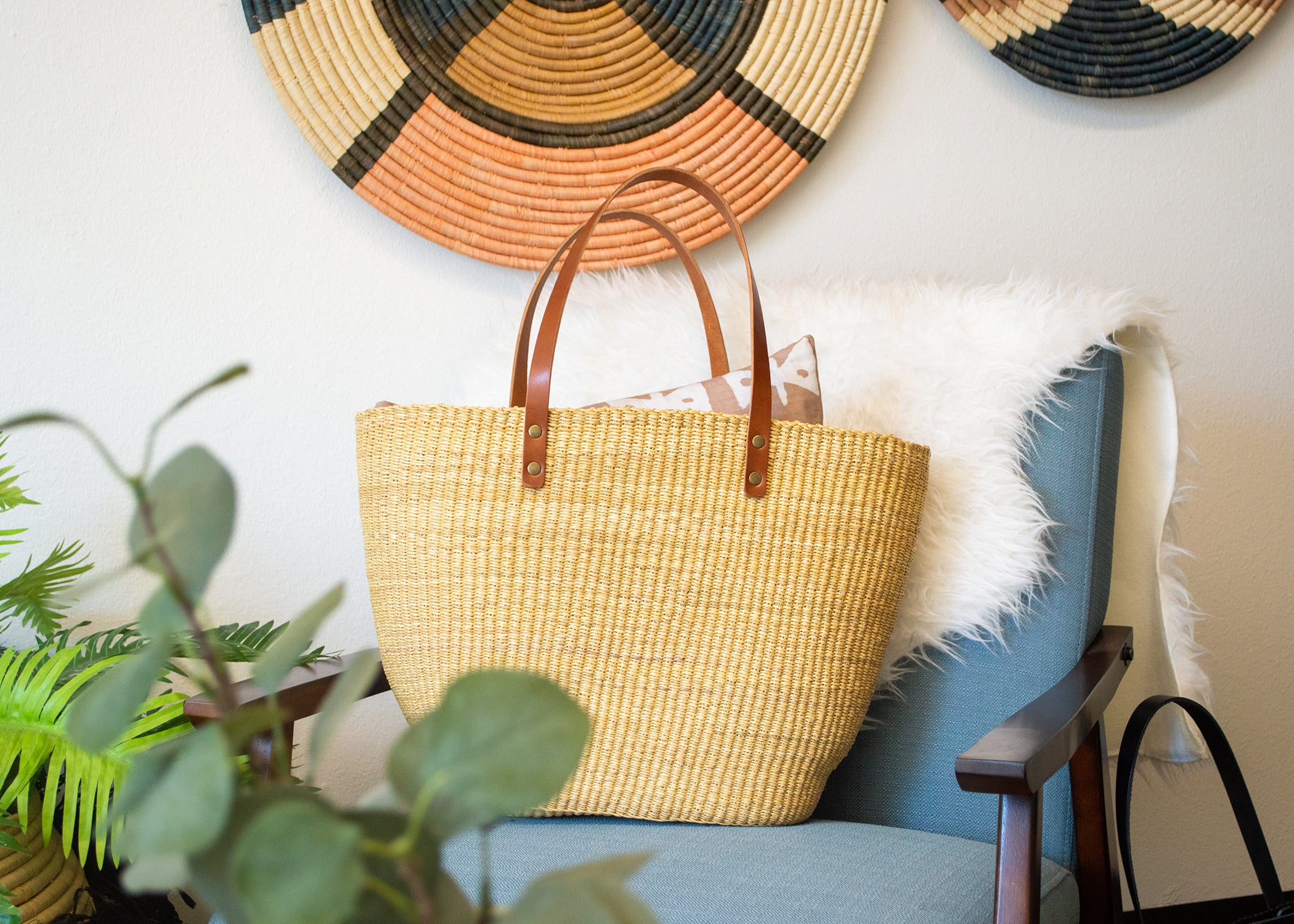 Natural Grass Large Tote Bag - KAZI