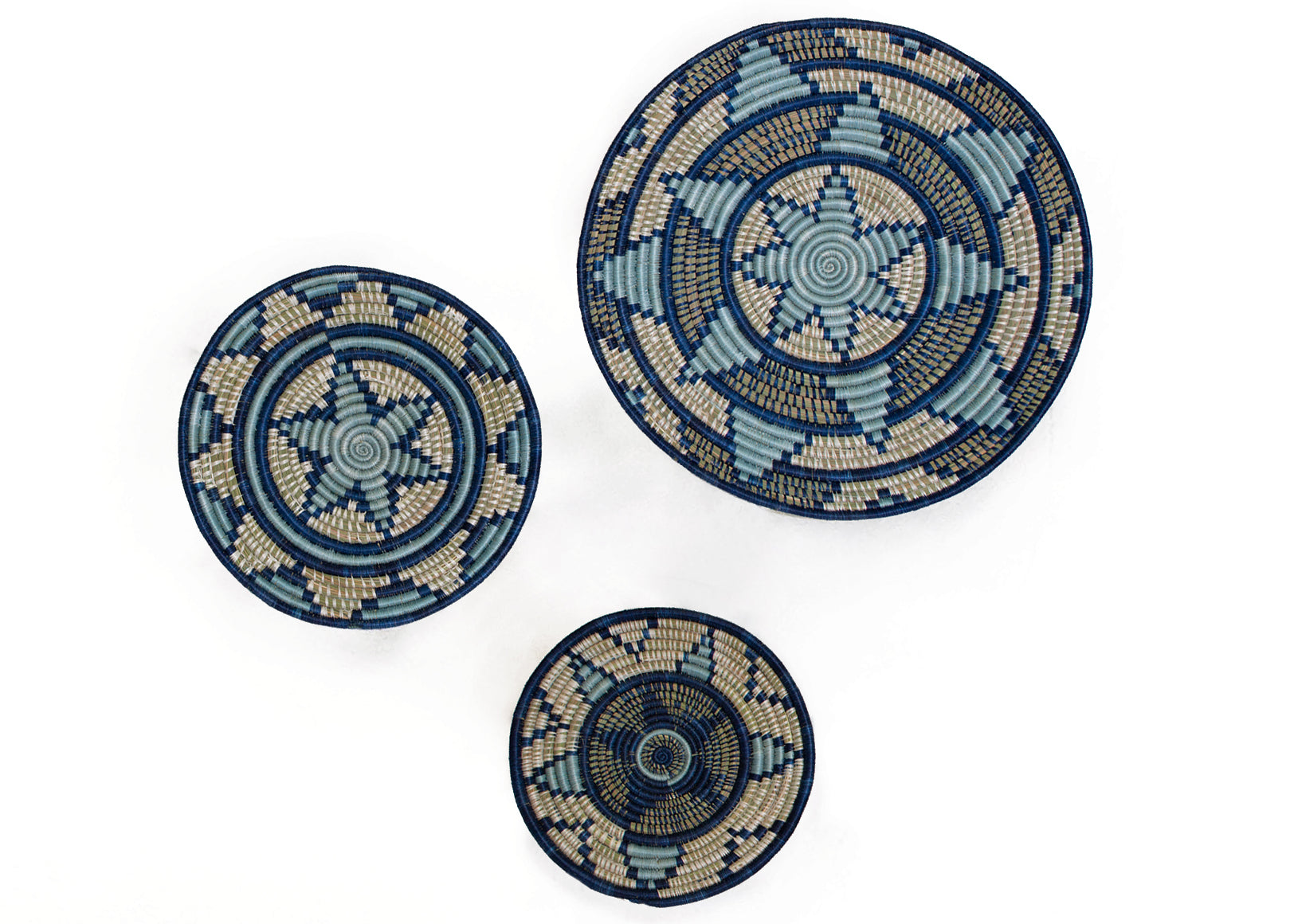Set of 3 Blue Plates - KAZI - Artisan made high quality home decor and wall art