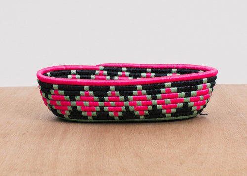 Graphic Pink Oval Basket I