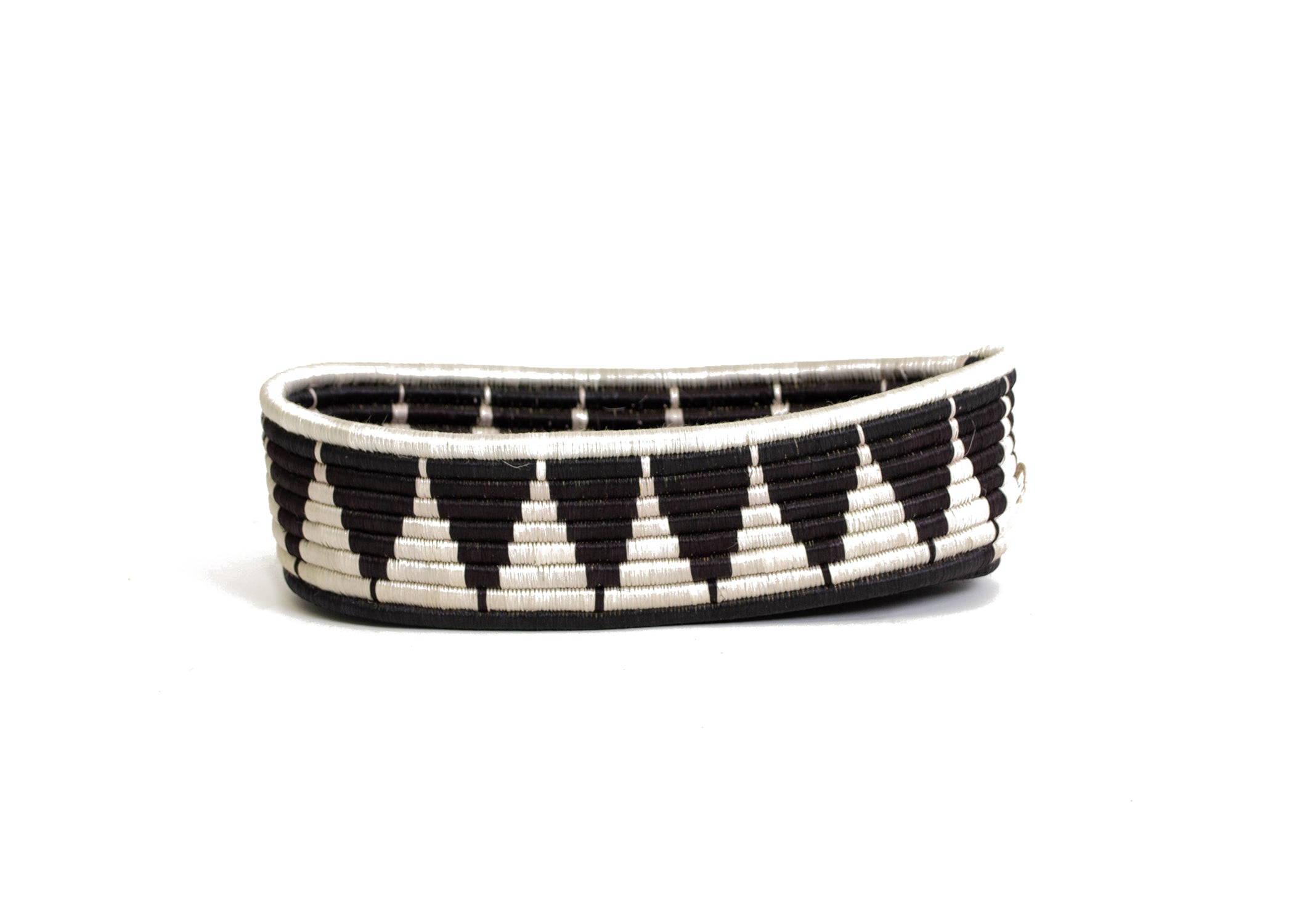 Black + White Tofali Oval Basket - KAZI - Artisan made high quality home decor and wall art