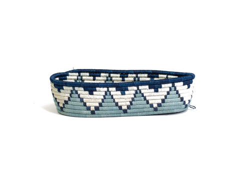 Silver Blue Oval Basket II