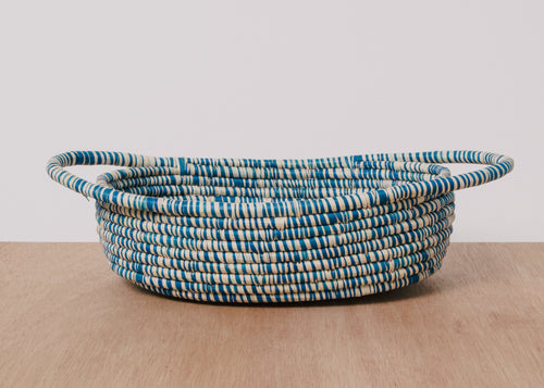 Heathered Indigo Raffia Oval Basket