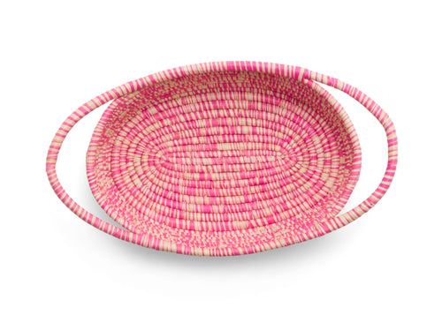 Heathered Fandango Pink Raffia Oval Basket