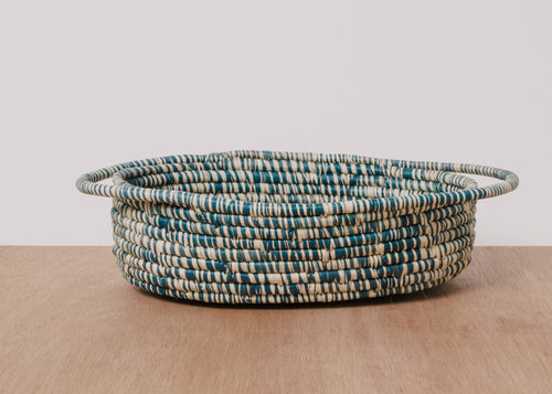 Heathered Blue Night Raffia Oval Basket