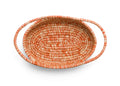 Heathered Burnt Orange Raffia Oval Basket