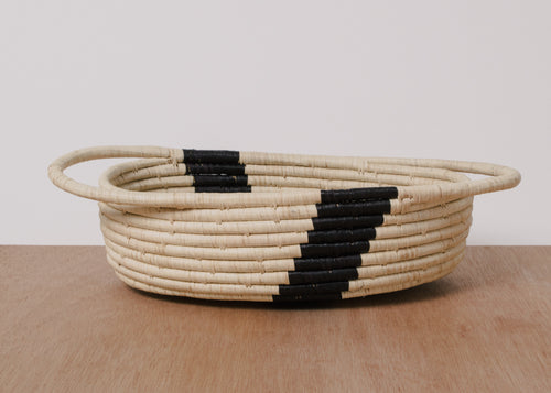 Striped Black + Natural Raffia Oval Basket