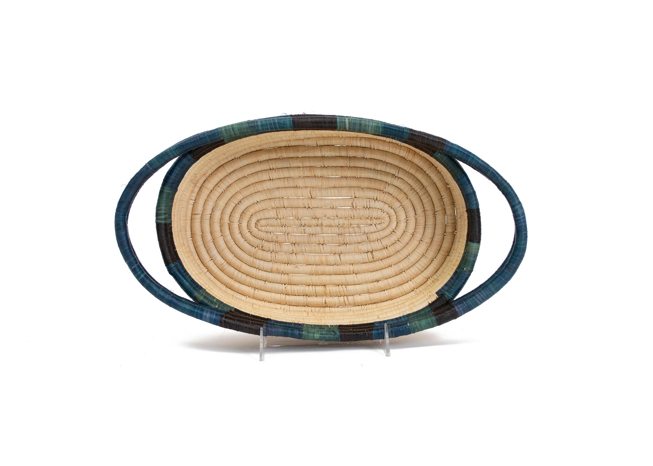 Cool Color Blocked Dipped Raffia Oval Basket - KAZI - Artisan made high quality home decor and wall art
