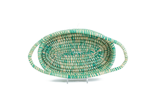Heathered Paradise Blue Oval Basket