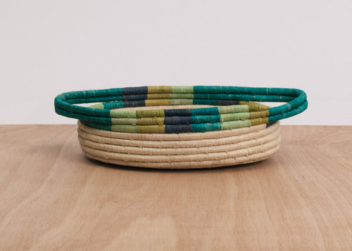 Emerald Bay Color Blocked Dipped Raffia Oval Basket