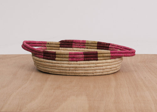 Rosette Color Blocked Dipped Raffia Oval Basket