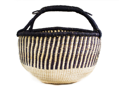 Navy and Natural Striped Market Basket
