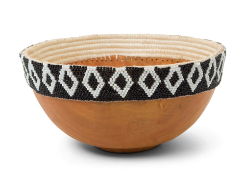 Black + White Beaded Wooden Bowl I