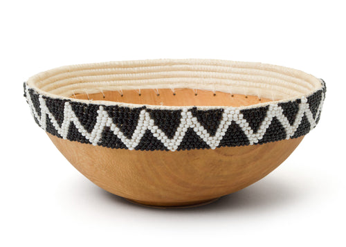 Black + White Beaded Wooden Bowl III
