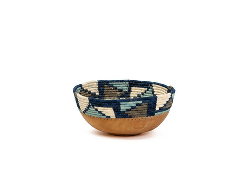 Silver Blue Mosaic Wooden Bowl