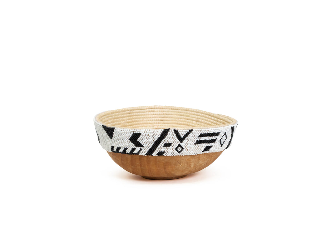 Biko Beaded Wooden Bowl I - KAZI - Artisan made high quality home decor and wall art