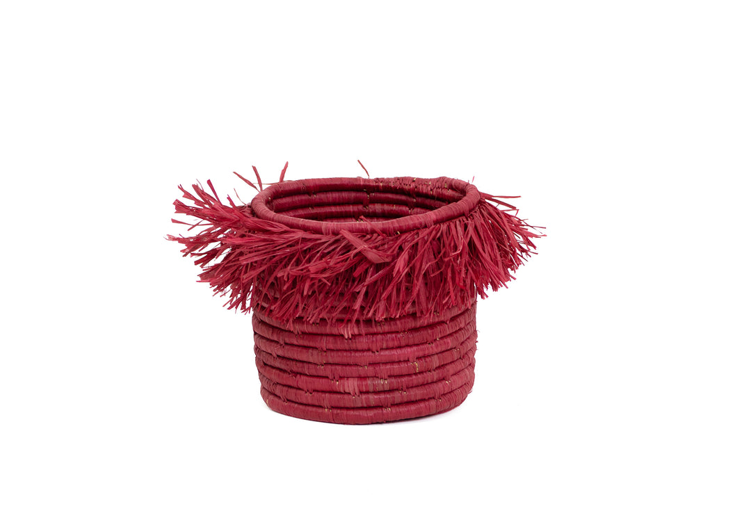Earth Red Fringed Small Catch All - KAZI - Artisan made high quality home decor and wall art