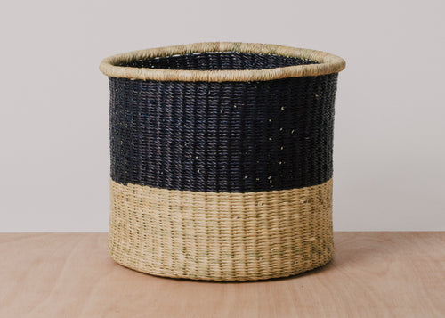 Dipped Natural + Black Cylindrical Basket