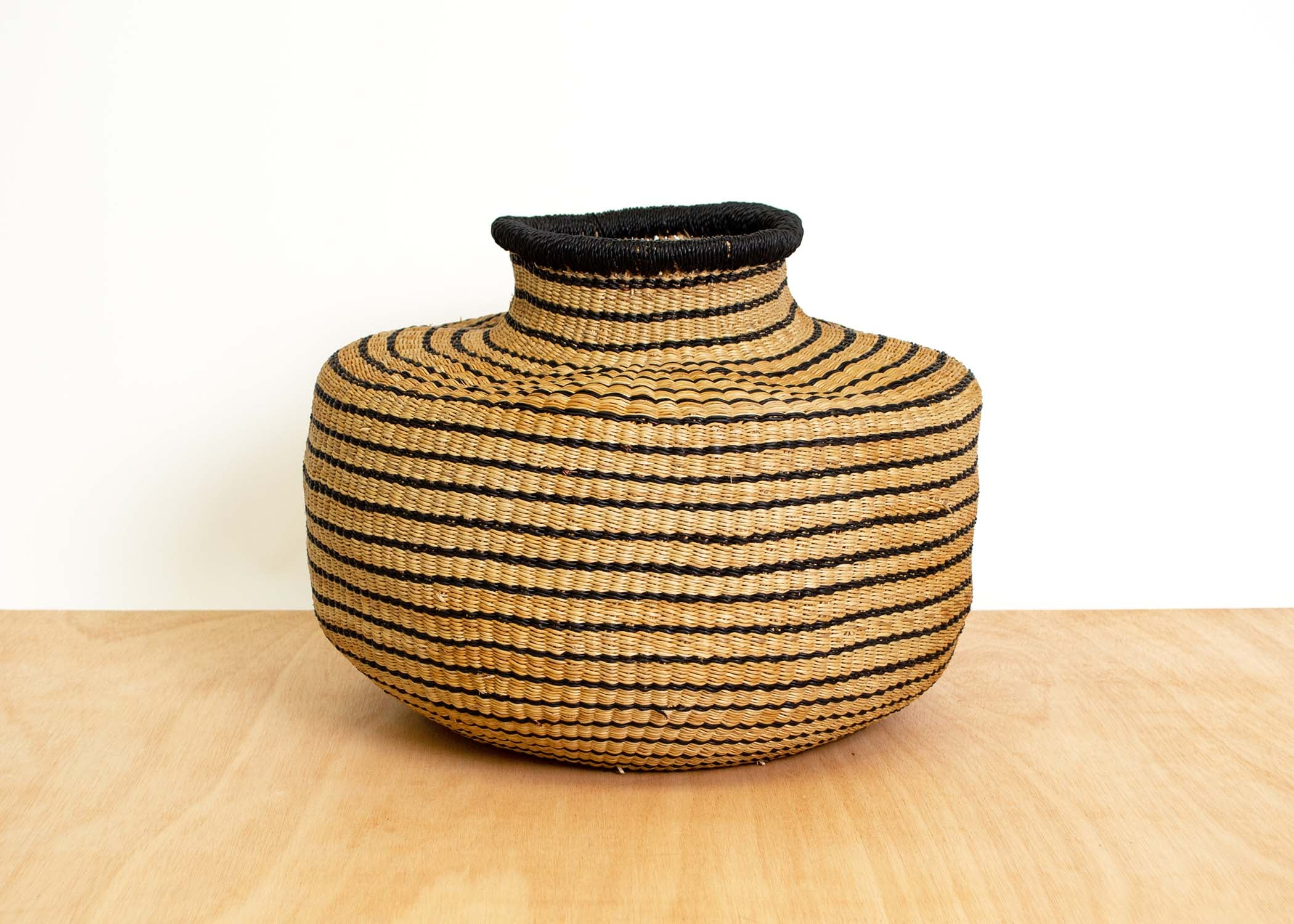 Striped Black Grass Pot - KAZI