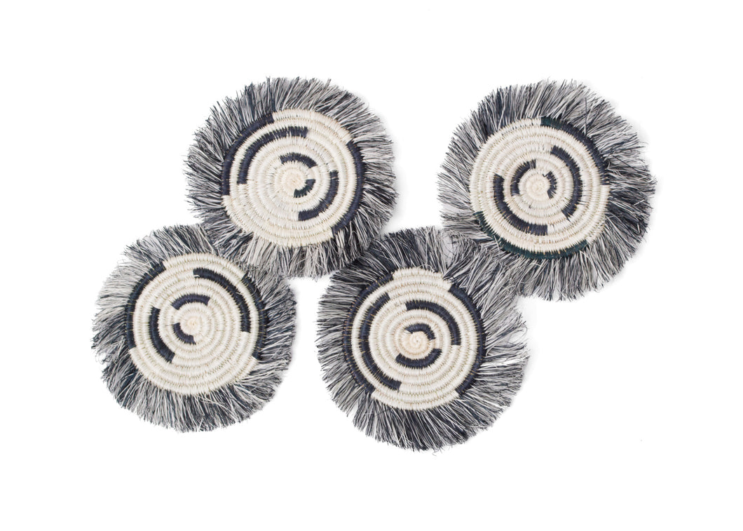 Fringed Black + White Geo Drink Coasters, Set of 4 - KAZI - Artisan made high quality home decor and wall art