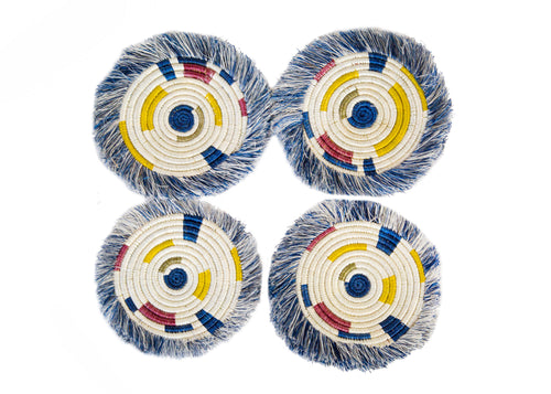 Fringed Blue Night Festival Geo Coasters, Set of 4