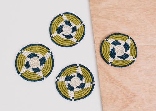 Citron + Blue Night Coasters, Set of 4