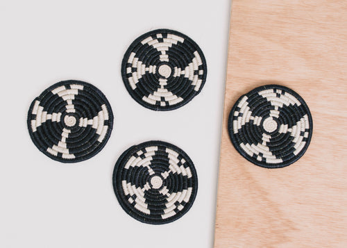 Black + White Kwizera Coasters, Set of 4