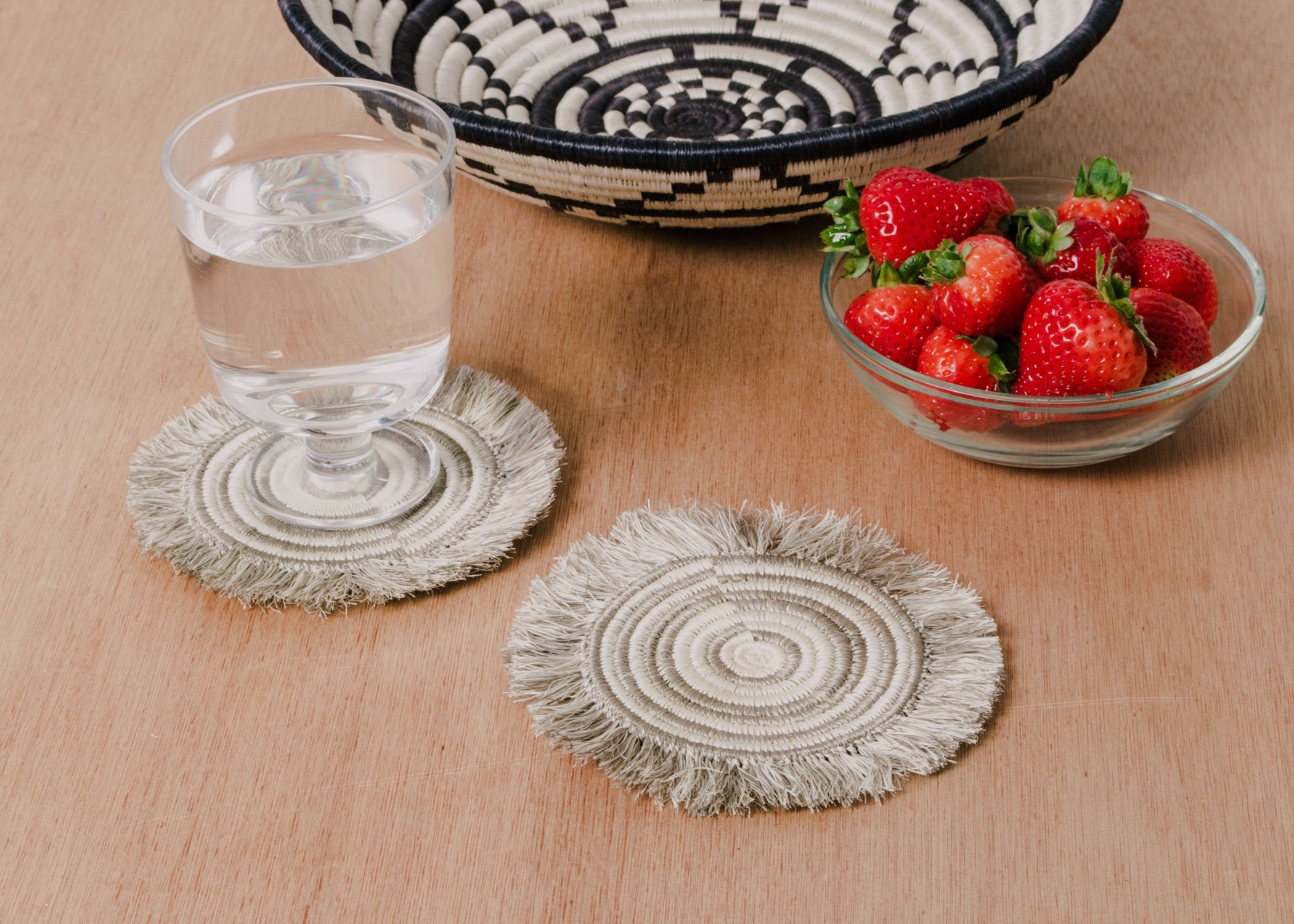Fringed Taupe Geo Drink Coasters, Set of 4 - KAZI - Artisan made high quality home decor and wall art