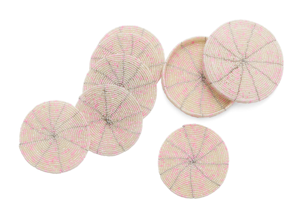 Beaded Soft Pink + Pearl Coasters