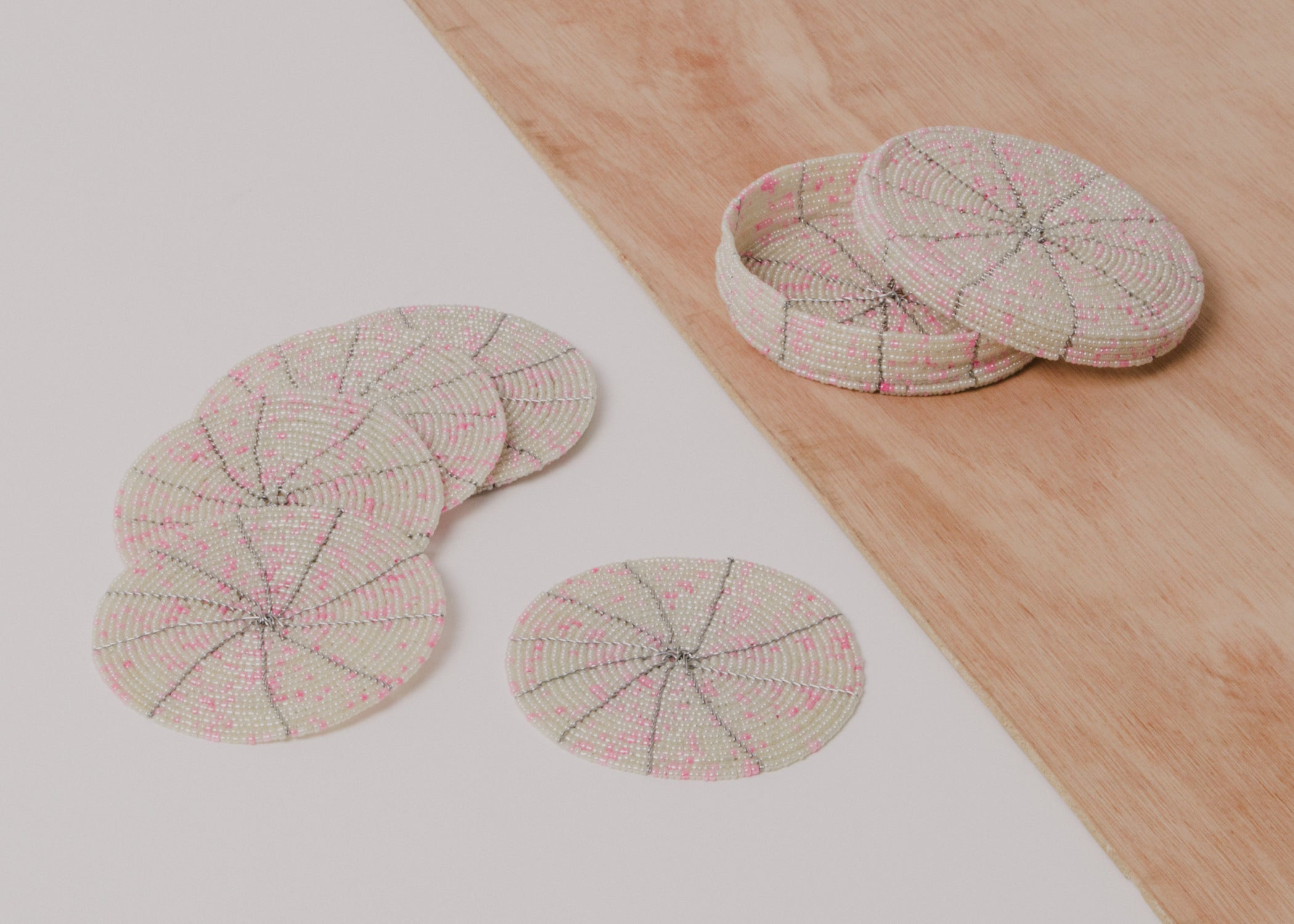Beaded Soft Pink + Pearl Coasters - KAZI - Artisan made high quality home decor and wall art